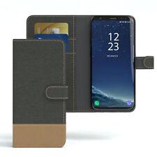 Tasche für Samsung Galaxy S8 Jeans Cover Handy Schutz Hülle Anthrazit