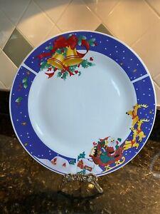 4 Housewares International Christmas Dinner Plates - Santa & Reindeer & Bells