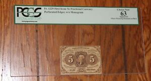 FR 1229  5 CENTS FIRST ISSUE POSTAGE CURRENCY  PCGS 63 CHOICE NEW UNC Perforated