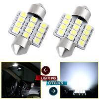 2X Super White 31mm 12 LED SMD Festoon Dome Car Bulb 3021 3022 DE3175 Light Lamp
