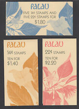 Palau Sc 130a, 132a, 132b MNH. 1987 Indigenous Flowers, Intact Booklets