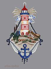 Fensterdeko Baddeko Spitzenbild Fensterbild Leuchtturm Plauener Spitze maritim