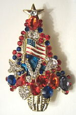 NEW RED WHITE & BLUE PATRIOTIC CHRISTMAS TREE BROOCH  FEATURING US FLAG