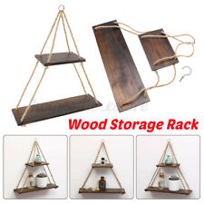 Wooden Wall Storage Rack Rope Hanging Shelf Plant Flower Pot Shelves Fo