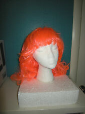 NEW Neon Orange Synthetic Hair WIG Curl Bottom Cosplay Anime Costume Accessory