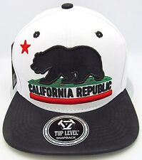CALIFORNIA REPUBLIC Snapback Cap Hat Paisley Cali Bear Faux Leather 2tone NWT