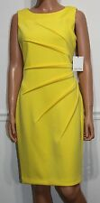 New Calvin Klein Sleeveless Elegant Dress Canary Yellow Size 10 MSRP $90