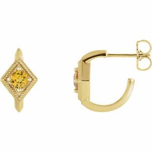 Yellow Sapphire Geometric J-Hoop Earrings In 14K yellow Gold