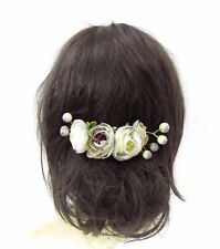 Grey Rose Berry Flower Hair Comb Silver Bridal Bridesmaid Fascinator Floral 3573