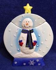 Winter Snowman Ceramic Cookie Jar - Christmas Holiday Spirited -