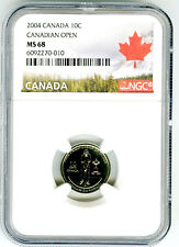 2004 P CANADA 10 CENT DIME CANADIAN GOLF OPEN NGC MS68 RARE MINTAGE JUST 39,468