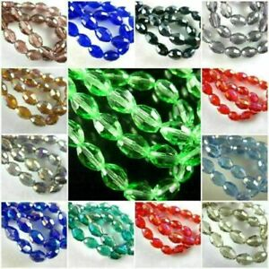 100Pcs Charms Faceted Glass Crystal Finding Spacer Loose Oval Rugby Beads 6x8mm#