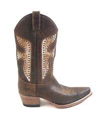 Frye 77782 Daisy Duke Python Women Brown Studs Pull On Cowboy Boots Size 8 M
