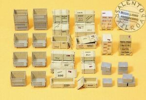 PREISER 17110 Set Containers Industrial: Pallets, Baskets, Speaker IN Wood Sca