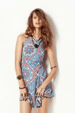 NEW NOOKIE Blue Marrakesh Racer Mini Dress - AU 12 - One 4 Summer Beach Season