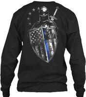 Knight Thin Blue Line Gildan Long Sleeve Tee T-Shirt