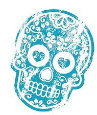 Distresed BLU INVECCHIATO messicana giorno dei morti zucchero Teschio Motif Auto Adesivo Decalcomania