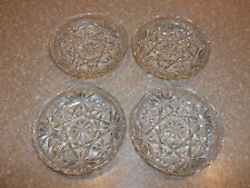 """4 Vintage Anchor Hocking EAPG Oatmeal Glass COASTERS 3.5"""" Smooth Edge   Perfect"""