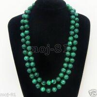 """Beautiful 10mm Green Malachite Round Gemstone Beads Necklace 36"""" Long"""