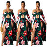 Women Boat Neck Long Sleeves Casual Floral Print Hollow Out High Slit Maxi Dress