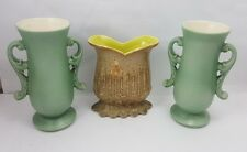 Lot of 3 Vintage RED WING POTTERY VASES Two 1351 & One M-1440 Green Brown 1950's