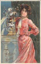 POSTCARD  GLAMOUR - GIRL IN A PINK DRESS  - A HAPPY EASTER