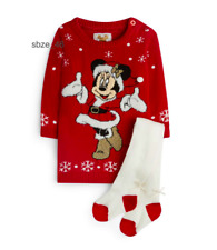 Disney Minnie Mouse Baby Girls Long Sleeve Christmas Jumper Red Dress & Tights