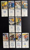 US Stamps, Scott #1489-98 single set & selvage Postal Service Employees XF M/NH
