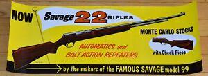 SAVAGE ARMS 1955 22 RIFLE MONTE CARLO STOCK ORIGINAL UNUSED STORE DISPLAY POSTER