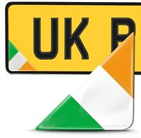 2 x 3D Domed Ireland Flag Number Plate Laptop Phone Helmet Bike Case Stickers