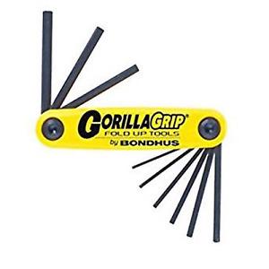 "Bondhus 9pc Imperial Folding Gorillagrip Hex Allen Key Set 12591 0.05"" to 3/16"""