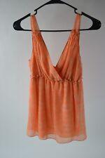 Studio M Women's Orange 100% Silk Top Size S Small NWT