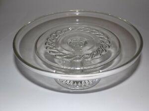 Clear Depression Glass Pedestal Cake Stand - Vintage Serving Item c.1950's