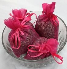 Set of 4 Lavender Sachets made with Fuchsia Organza Bags