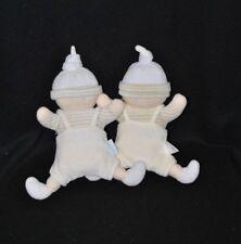 Lot 2 peluche doudou lutin poupon COROLLE blanc beige rayé bonnet grelot 19 cm