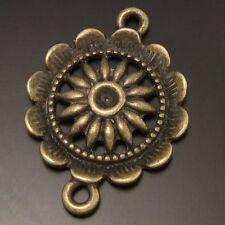 25PCS Antique Bronze Color Alloy Lovely Flower Connector Pendant Charms 21x21mm
