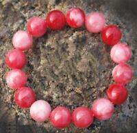 Red JADE Jadeite Round Gemstone Beads Stretch Bracelet Bangle 7.5'' 10MM Natural