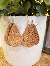 several available of each color Braided Leather Earrings, teardrop, New-