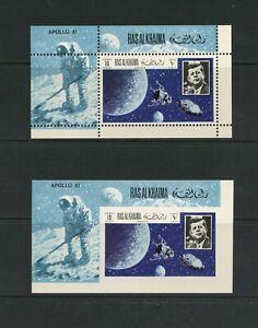 G005 Ras Al Khaima 1969 Espace Apollo Xi Kennedy Perf & Imperf Feuilles MNH