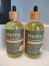 Earth Goodness Hemp All Over Body Oil Qty 2 New 8 Oz Ea Eucalyptus Mint Dropper