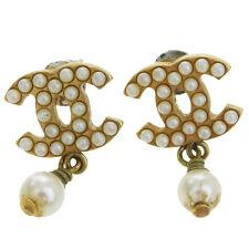 Auth CHANEL CC Logos Pierce Imitation Pearl Gold-Tone Accessories 03A 07V185