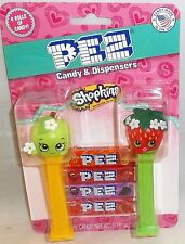 SHOPKINS Pez Dispensers 2 pack APPLE BLOSSOM / STRAWBERRY KISS w/4 roll of candy