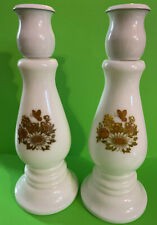 2 Candle Candlestick Holders Avon Buttercup Cologne Perfume Decanter - Empty