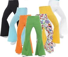 Mens 1960s 1970s Hippie Hippy Kick Flares Fancy Dress Costume Outfit Trousers