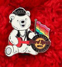 Hard Rock Cafe pin Las Vegas GAY PRIDE BEAR Leather Daddy Rainbow flag hat lapel