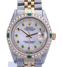Rolex Mens Datejust 16013 White MOP Diamond/Emerald  Dial Diamond Bezel 36mm