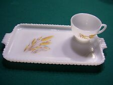 """White Milkglass """"Wheat"""" Rectangular Sandwich Plate with Cup"""