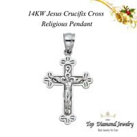 14k Solid Yellow Gold Cross Jesus Crucifix Religious Charm Pendant 1.6g Jewelry