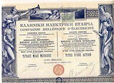Hochdeko: HELLENIQUE d 'ELECTRICITE 1928 Athènes IMP. richard