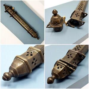 "Rare Antique Hand Hammered Brass Incense Burner, Middle East: 14.5"" long Polygon"
